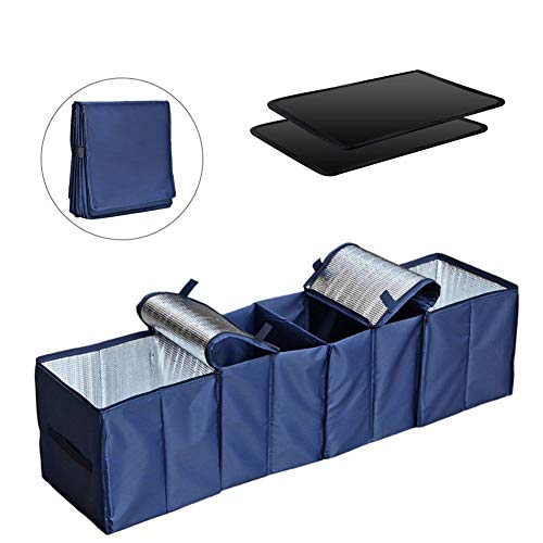 (COZYSWAN Collapsible Car Trunk Organizer, Fabric Auto Trunk Storage Container Foldable Multi 4 Compartments Fabric Storage Basket and Cooler & Warmer Set, Blue)