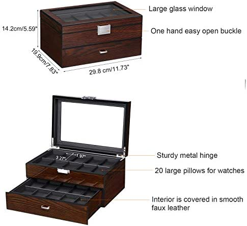 BEWISHOME Watch Box 20 Slots Watch Case for Men - Luxury Watch Organizer with Glass Top,Smooth Faux Leather Interior, Brown SSH04Y