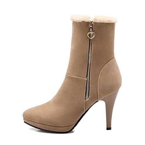 AllhqFashion Damen Rund Zehe Rein Niedrig-Spitze Hoher Absatz Stiefel mit Metallisch, Aprikosen Farbe, 40