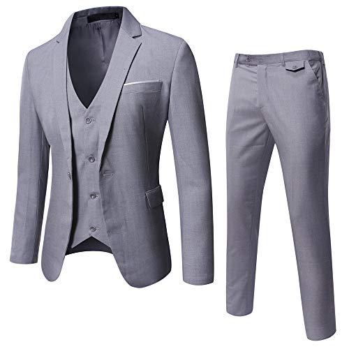 WULFUL Men's Suit Slim Fit One Button 3-Piece Suit Blazer Dress Business Wedding Party Jacket Vest & Pants Light Grey (3 Piece Pant Suit)