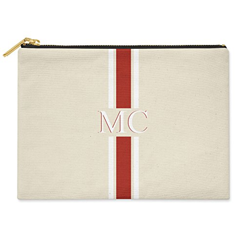 X CANVAS amp; POUCH GREEN MEDIUM COTTON amp; INITIALS PINK MONOGRAMMED BAG STRIPED Striped Red CLUTCH 19CM 24CM PERSONALISED White pwqaOO