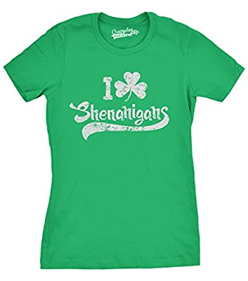 Womens I Clover Shenanigans T-Shirt Funny St Patricks Day Shirt For Women