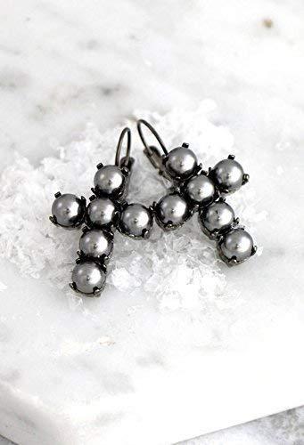 Gothic Cross Elegant Earrings, Bridal and Party Statement Dark Earrings, Silver Pearls Drop Dangle Earrings, Swarovski Wedding Jewelry, Handmade Designer Gifts for ()