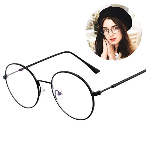 GQUEEN Blue Light Blocking Computer Glasses,Anti Glare Eye Fatigue with Retro Round Circle Metal - Reading Circle Glasses