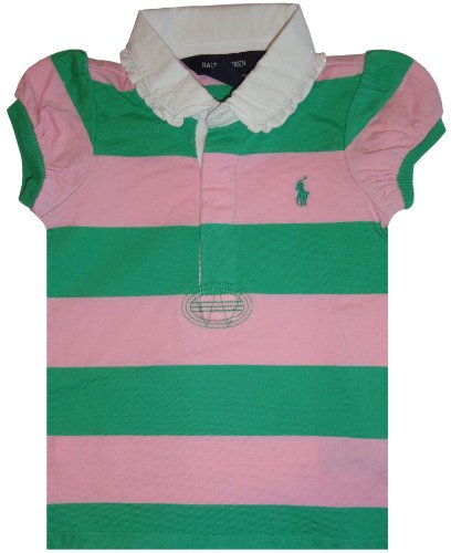Infant Girl's Ralph Lauren Polo Short Sleeve Rugby Shirt Pink and Green Striped (9 Months)
