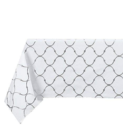 GoodGram Premium Luxury Metallic Foil Lattice Quatrefoil Fabric Tablecloth - Assorted Sizes & Colors (54 in. x 120 in. (10-12 Chair), Silver) - What's Included: (1) Fabric Tablecloth Dimensions: 54 in. x W 120 in. L (10-12 Chair) Fabric Content: 100% Polyester - tablecloths, kitchen-dining-room-table-linens, kitchen-dining-room - 41qKy0sPUSL -