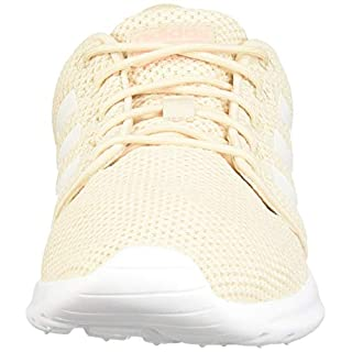 adidas Women's QT Racer Running Shoe, Linen/cloud White/Glow Pink, 7.5 M US