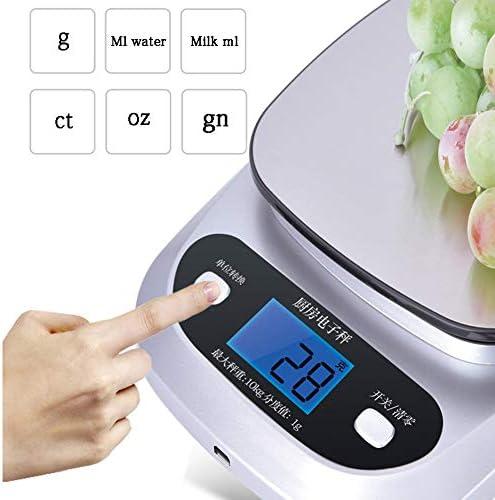 Bilancia da Cucina Digitale, Bilancia da Cucina, con Caricatore USB, Display LCD, conversione di unità, sensore ad Alta precisione, Chiaro pelati, Panificazione,5KG/0.1G