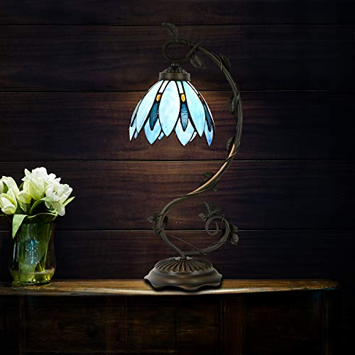 Cloud Mountain Tiffany Style Table Lamp Light Blue Floral Leaf Lotus Shape Arched Stained Glass Desk Lamp Home Decor Lighting with 7 Inch Lampshade by Cloud Mountain (Image #6)