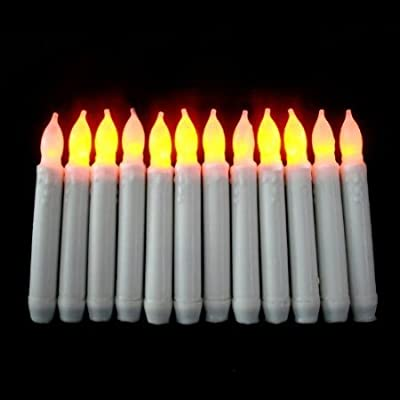 Micandle Set of 12 Yellow Mini Battery Operated Amber Flickering LED Taper Candles, Yellow Flameless Battery led candlesticks -Batteries Not Included