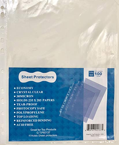 (4 Packs of 100 (400) GTP Clear Top Loading, Economy 11 Hole Sheet Protectors 8.5