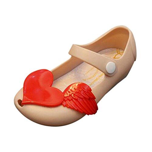 Hzjundasi Sommer Baby M?dchen Niedlich Anti-Rutsch Weich Gelee Fisch Mund L?ssige Flache Schuhe Kleinkind Kinder Strand Sandalen Regen Stiefel Beige
