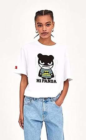 WorthwayDesign Cute Panda Batman Design T-shirt 100 Percent cotton Women Casual Street Fashion Short sleeves Tops XS-XL