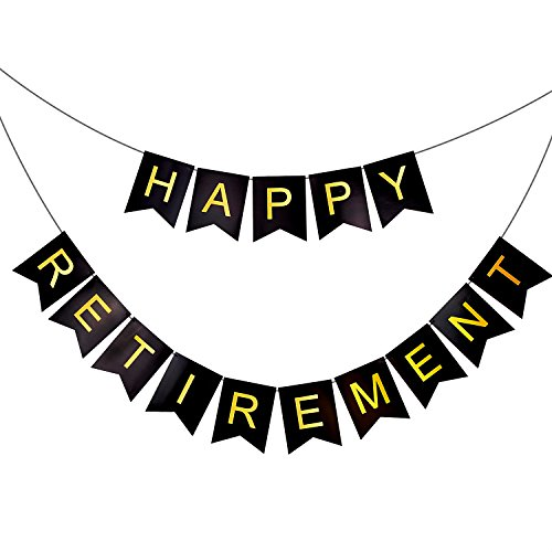 HAPPY RETIREMENT Banner Bunting - Retirement Party Supplies, Black Background & Gold Foiled Letters, Classy Luxurious Decorations & Gifts