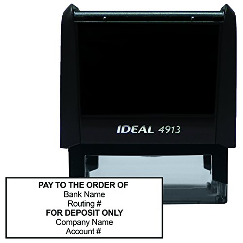 Bank Deposit Stamp - Six Line Self Inking Stamp for Check Endorsement, 7/8'' x ()