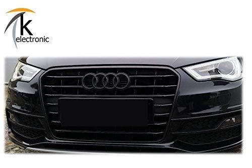 k-electronic Audi A3 S3 RS3 8 V Emblema Negro Mate/Audi Anillos Enfriador Parrilla Frontal Delantera: Amazon.es: Coche y moto