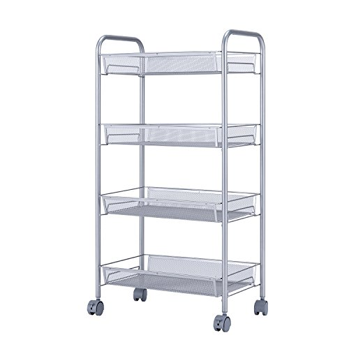 SINGAYE Utility Cart with 4 Baskets on Wheels, Mesh Wire Rolling Cart Multifunction Kitchen Storage Cart, Steel Wire Basket Shelving Trolley,Easy moving,Grey