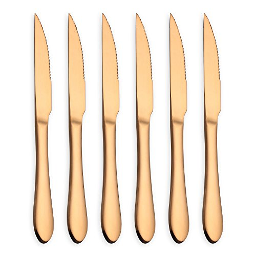 HOMQUEN Rose Gold Steak Knives, 6-Pieces Steak Knife Flatware Set, Mirror Polish and Rose Gold Titanium Plated, Ultra-Sharp Stainless Steel (Rose Gold, Set of 6)