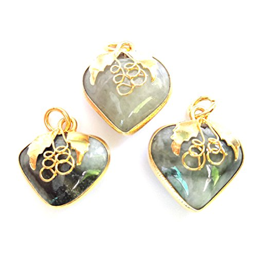 (KARATGEM Natural Jadeite Jade Pendant Mini Heart Charm Vintage GP (Pack of 3) (Light Green))