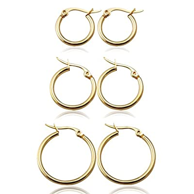 Jstyle Jewelry 3-4 Pairs Women's Cute Small Hoop Earrings Stainless Steel by Jstyle
