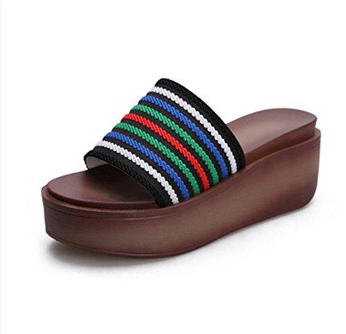 Muffin Bottom Una palabra arrastrar verano señora sandalias talón de la pendiente Zapatillas de moda 2