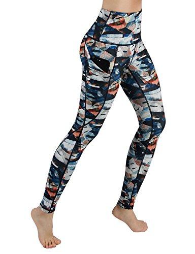 9fd20c4b9ec07e ODODOS High Waist Out Pocket Printed Yoga Capris Pants Tummy Control  Workout Running 4 Way Stretch