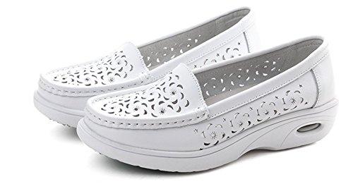 LOVEBEAUTY Women's Lightweight Nurse Shoes Hollow Out Casual Flat Work Shoes White01 US 7(EU 38) by LOVEBEAUTY
