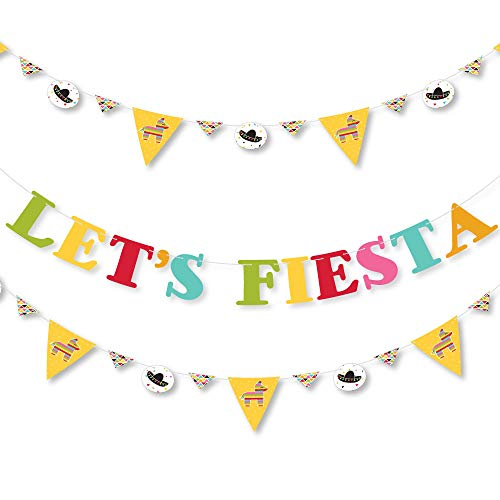 (Big Dot of Happiness Let's Fiesta - Mexican Fiesta Party Letter Banner Decoration - 36 Banner Cutouts and Let's Fiesta Banner Letters)