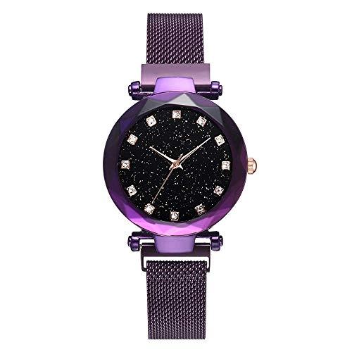 BEWITCHYU Practical Wristwatches Women 's Watch Magnets Iron Star Watch World Time, Clasp, Rhinestone Scale Mid-Size Watch Ladies Decorative Watch BraceletPurple
