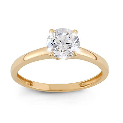 Celebration Moments 10K Yellow Gold Round 1CT Swarovski CZ Solitaire Ring - Size 9 ()