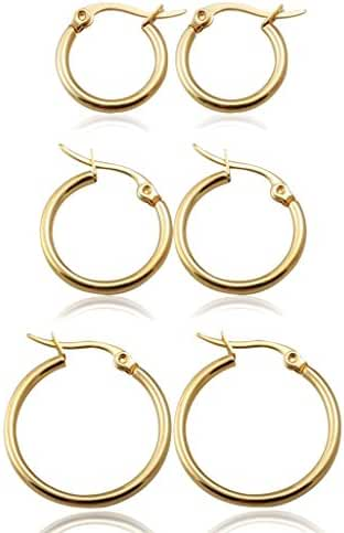 Jstyle Jewelry 3-4 Pairs Women's Cute Small Hoop Earrings Stainless Steel