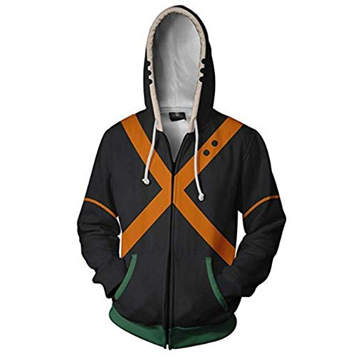Boku No Hero Academia My Hero Academia zuku Midoriya Cosplay Costume Training Suit Jacket Unisex Thick Hoodies (Black, -