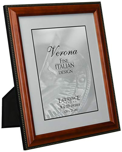 Lawrence Frames Walnut Wood 8x10 Picture Frame - Gold Bead Design