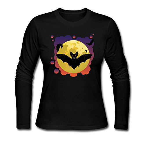 [Women's 2016 Halloween Moon With Flying Bats Costume Long Sleeves T-shirts Black] (Top Ideas For Halloween Costumes 2016)