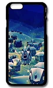 Rugged iPhone 6 Case,Peaceful Village Christmas Eve Custom Case Cover for Apple iPhone 6 4.7inch Polycarbonate Black