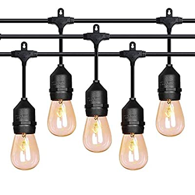 52ft LED Outdoor String Lights Commercial Grade Weatherproof - 20pack 2W Incandescent Bulbs Included - ETL Listed Heavy Duty - 18 Hanging Sockets - Perfect Patio Lights Bistro Market Cafe Lights