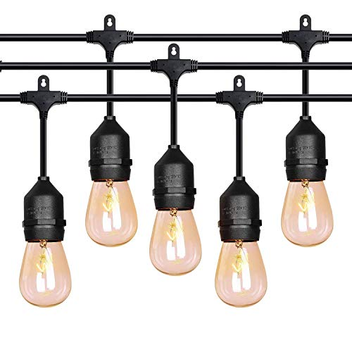 52 ft Outdoor String Lights Commercial Grade Weatherproof - 28pack 11W Incandescent Bulbs Included - UL Listed Heavy Duty - 24 Hanging Sockets - Perfect Patio Lights Bistro Market Cafe -