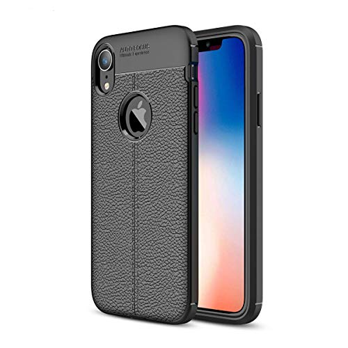 iPhone XR Case Slim Fit Ultra-Thin Carbon Fiber PU Leather Premium Soft TPU Full Body Cover Protective Anti-Scratch Shock Proof Dust Phone Case Compatible with Apple iPhone XR 6.1 inch 2018 (Black) (Pu Leather Case)