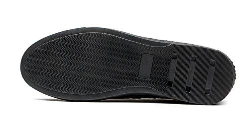 Opp Mænds Afslappet Læder Flade Sko Lace-up Sneaker Unikt Design Sort NG5PN