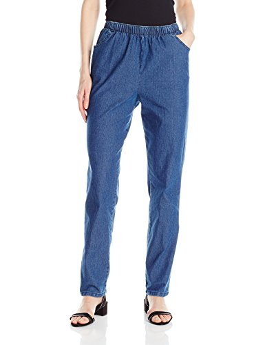 (Chic Classic Collection Women's Stretch Elastic Waist Pull-on Pant, Mid Shade Denim, 14A)