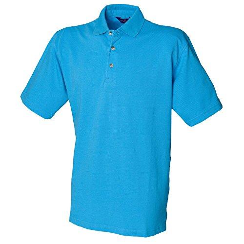 Henbury Klassisches schwere Pique Polo Shirt H100Surf Blau groß