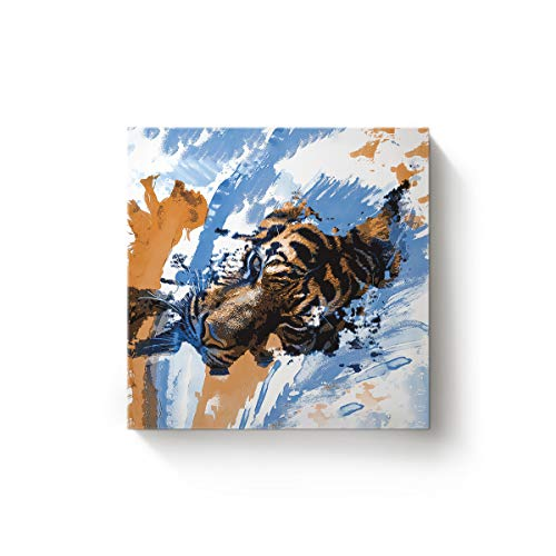 EZON-CH 32 x 32 Inch Canvas Wall Art Square Oil Painting Office Home Modern Decor,3D Tiger Face Watercolour Animal Design Canvas Artworks,Stretched by Wooden Frame,Ready to Hang -