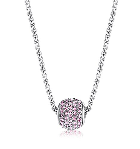 LOYALLOOK Stainless Steel Birthstone Charm Beads Necklace for Women 18