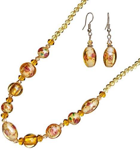 Lova Jewelry Goldtone Murano Glass Necklace and Earrings (Murano Glass Necklace Earrings)