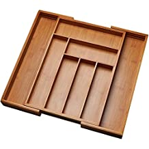 Kitchen Drawer Organizer, Adjustable Drawer Dividers to Fit Snugly Into Any Kitchen Drawer. Attractive Bamboo Wood Flatware, Cutlery and Utensil Tray is Also a Great Drawer Organizer Around the Home.