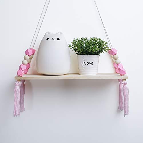 Popvip Floating Wall Shelf, Wood Hanging Swing Rope Parcel Shelf with Tassel Home Decor (Pink)