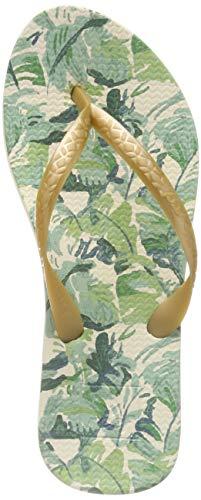 Reef Women's Escape Lux + Prints Flip-Flop Sandals, Gold Palms (GLDPLMS/GDP), 9
