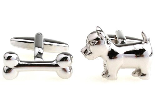 MRCUFF Dog and Bone Pair Cufflinks in a Presentation Gift Box & Polishing Cloth