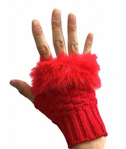 ニット 手袋 グローブ 指無し ファー ハーフ フィンガー レディース 女性 防寒
