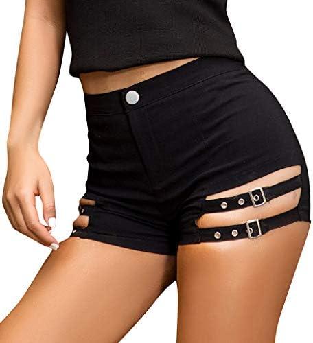 LGHOVRS Pantalon Femme Ete Short Noir Short en Cuir Short